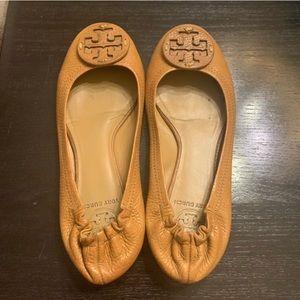 Tan Tory Burch Leather Ballet Flats 7.5